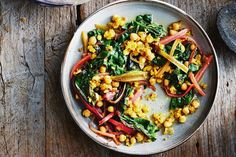 This is a play on the Spanish dish garbanzos con espaincas, or chickpeas with spinach. Adding rainbow chard gives it more body and colour.