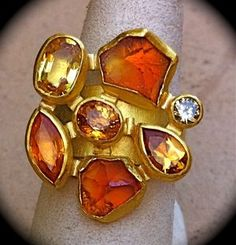 Petra Class NIB Designer Cluster Citrine and Diamond Ring. 16 GRAMS SOLID 18K/22K GOLD!