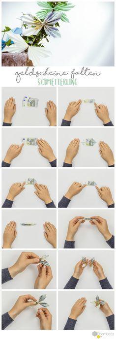 #Geldscheine #Faltanleitung #Schmetterling #Geldgeschenke Schöne Geldgeschenke selber basteln ist ganz einfach - Auf ROOMBEEZ findet Ihr Schritt-für-Schritt Anleitungen und Videos ➯