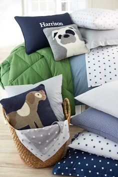 We love these adorable puppies on decorative pillows!