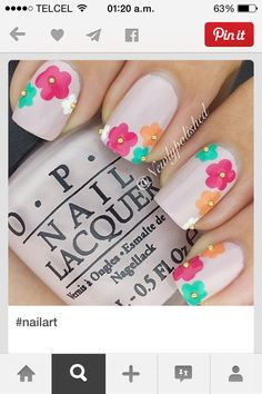 50 Flower Nail Designs for Spring – Fancy Nails Fancy Nails, Cute Nails, Pretty Nails, My Nails, Flower Nail Designs, Nail Designs Spring, Nail Art Designs, Floral Designs, Nails Design