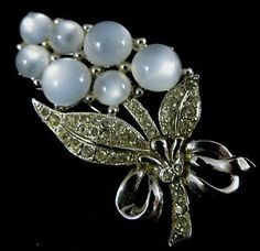 Vintage Silvertone Rhinestone with Moonglow Cabochons Brooch Pin Signed Coro | eBay