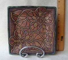 Handmade and Carved Square Plate with flowers by KittingerClay