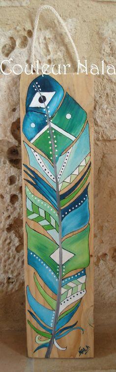 Peinture sur bois de palette, motif plume amérindienne, peinture à l'huile…