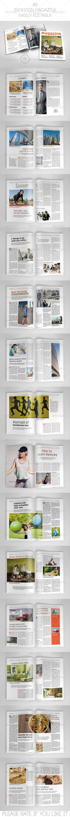 A5 Magazine Template by WattCore A5 Magazine Template (Portrait) This is a professional and clean InDesign magazine template that can be used forany type of indust