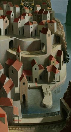 Michiel Schrijver (Dutch, born 1957, Surreal architecture painter, acrylic on canvas) – at the end of the week (2010).