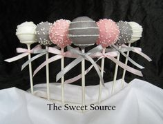 Cake Pops: Pink and Gray Baby Shower Cake by TheLollicakesBakery Cake Pops: Rosa und grauer Babyparty-Kuchen von TheLollicakesBakery Wedding Shower Cupcakes, Wedding Cake Pops, Bridal Shower Favors, Wedding Cakes, Wedding Favors, Party Favors, Idee Baby Shower, Baby Shower Cake Pops, Girl Shower