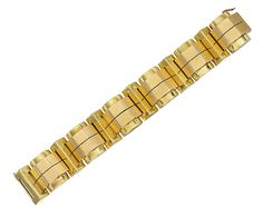 A BICOLOURED GOLD BRACELET, BY CARTIER   Of 'tank track' design, the angular yellow gold links overlaid with rose gold arched panels, late 1940s, 18.3 cm long, with French assay marks for gold  Signed Cartier, Paris