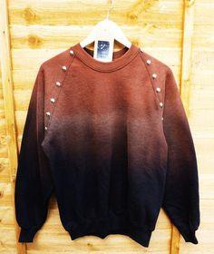 Bleached Black Dip Tie Dye Studded Sweater Shirt Inspiration