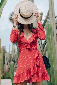 Whole Night Red Star Print Wrap Dress