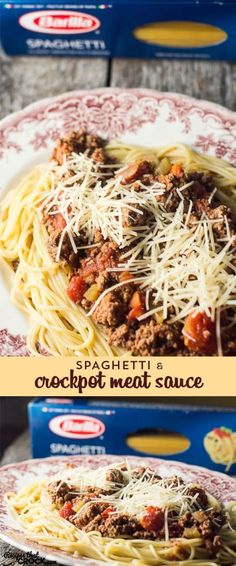 Spaghetti with Crock Pot Meat Sauce: Barilla® Spaghetti with {Crock Pot} San Marzano Tomato Meat Sauce recipe is the perfect pasta dish for kids of all ages 0-93 and so easy to throw together for dinner! #ad