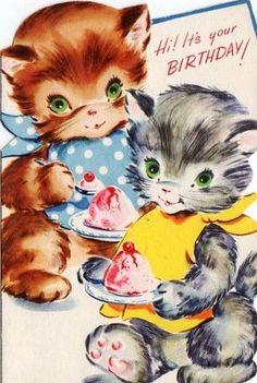 Kittens eating ice cream