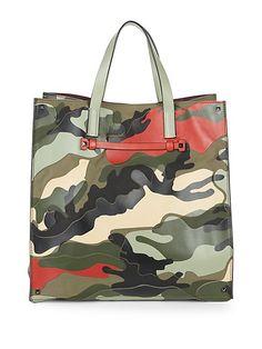 822e6a74a7 VALENTINO CAMO TOTE BAG.  valentino  bags  leather  hand bags  tote   lining. ModeSens Men