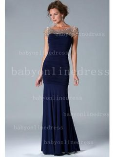USD$135.19 - 2014 Sexy Navy Blue Pleated Mermaid Mother Of The Bride Dress Chiffon Cap Sleeves Bead Gowns With Crystal - www.27Dress.com