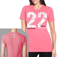 22 A Day T-Shirt- Nine Line Women's Pink Military Tee Shirt