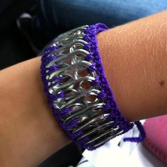 Pop tops crocheted together in to a bracelet
