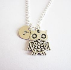 Owl charm necklace, owls, birds, initial necklace, initial hand stamped, personalized, antique silver, monogram, 1 initial, one initial tiny by RobertaValle