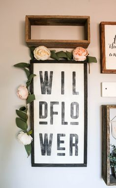 I love this boho style rustic sign that says Wildflower with black frame and faux flower garland hanging on corner! Perfect wall art for a gallery wall in baby girl nursery or little girls room! Source by makingmanzanita nursery girl Rustic Nursery, Boho Nursery, Girl Nursery, Nursery Room, Nursery Neutral, Girls Room Wall Decor, Nursery Wall Decor, Nursery Ideas, Corner Wall Decor