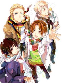 Hetalia- Germany,Prussia,Japan, and Italy! I love this picture so much!:D