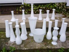 Vintage Lot of 20 MILK GLASS BUD VASES~Wedding ~Florist~Hoosier Glass~E.O. Brody #MilkGlass