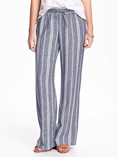 Wide-Leg Linen Pants for Women--- These look SO comfortable. And since they're vertically striped, they might make my legs look longer? Wide Leg Linen Pants, Linen Trousers, Pants For Women, Clothes For Women, Women's Clothes, Drawstring Pants, Striped Linen, Jumpsuits For Women, Old Navy