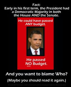 Only Obama could screw up passing a budget while having control of everything! What a useless POS... He must be doing it on purpose.