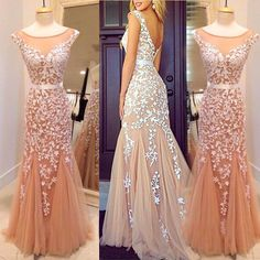 DIYouth.com Scoop Sexy Backless Long Evening Dress Appliqued Mermaid Formal Dresses,open back lace dress,backless lace evening dress,Mermaid prom dress party dress,long prom dress modest evening dress,tulle prom dress,tulle prom dresses,beautiful prom dresses 2015