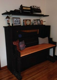A friend's husband took a 1915 Newton Player Piano that no longer worked and repurposed it into an entryway bench. He also used the piano top and created the shelf shown above to display the player piano role mechanism. It's absolutely beautiful! Piano Desk, The Piano, Piano Bench, Piano Bar, Piano Table, Piano Stool, Grand Piano, Desk Chair, Refurbished Furniture