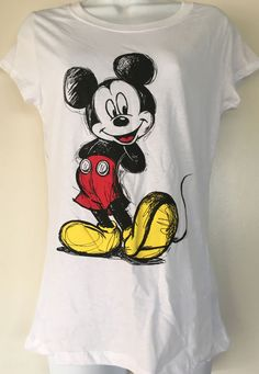 71505d32d31 New Disney Mickey Mouse Women White T shirt Top Cap Sleeve Size L Gift Idea  Cute  Disney  Tshirt  Casual