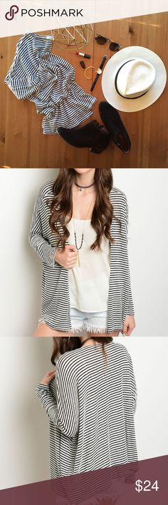 """CHIC STRIPED CARDIGAN This striped lightweight cardigan features long sleeves and an open front. This cardi would look super cute over a maxi dress or to pull together with a tee and pair of jeans! Colors are black and off-white. ▪️Made in the US▪️59% Rayon 39% Polyester 2% Spandex ▪️L:25"""" B:67"""" W:67"""" (SM) Evette Encounters Sweaters Cardigans"""