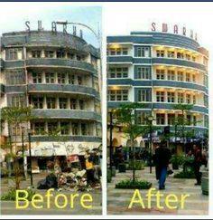 Kondisi Hotel Swarha sebelum dan sesudah di cat ulang oleh Forum Perempuan Bandung Bersatu (FPBB) - Women In Unity (WIU)