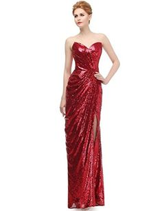 JYDress Womens Sweetheart Strapless Sequins Party Prom Evening Dresses Burgundy 2 *** Want additional info? Click on the image.