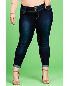 9e4edb636b351 Women's Triple Button Super Soft Ankle Jeans with Rolled Cuff - Plus Size
