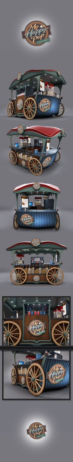 This exclusive gourmet popcorn kiosk was made in and it took me about 15 hours of work from concept to final images.A real model was built in and is currently working in a shopping mall. Other ones are being built with some variations… Food Cart Design, Food Truck Design, Gourmet Popcorn, Popcorn Shop, Coffee Carts, Coffee Truck, Kiosk Design, Cafe Design, Booth Design