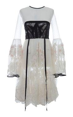 HUSSEIN BAZAZA SILK BELL SLEEVE DRESS. #husseinbazaza #cloth #