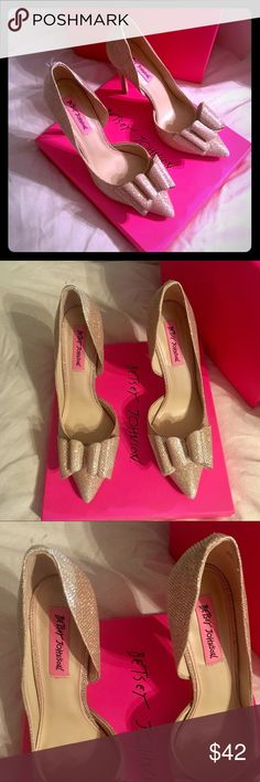 "Betsey Johnson Prince d'Orsay Evening Pumps Golden metallic fabric covered pumps. Big layered bow on pointed tip. Super cute for Holidays/New Years!  * 3 1/2"" heel * 7 1/2 (true to size) * Fabric (polyester)  * Pre-loved condition. Actual shoes pictured 👍🏼 (buy with confidence) Betsey Johnson Shoes Heels"