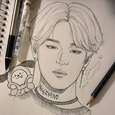 {Jimin Nevermind Tattoo🌚}---FANART--- I think I'll repost this pic .one day> Kpop Drawings, Pencil Art Drawings, Art Drawings Sketches, Jimin Fanart, Kpop Fanart, Bts Chibi, Korean Art, Art Sketchbook, Cute Art