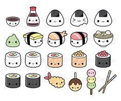 Cute Food Drawings, Cute Animal Drawings Kawaii, Cute Little Drawings, Doodle Drawings, Kawaii Doodles, Cute Doodles, Cute Doodle Art, Cute Art, Kawaii Stickers