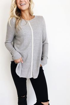 Grey Waffle Knit Top    Long Sleeve w/Cuff Detail    Embroidered Ribbon on Front