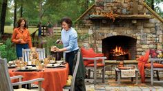 This outdoor dining area is situated near the fireplace so guests can enjoy its warmth on cool fall nights.