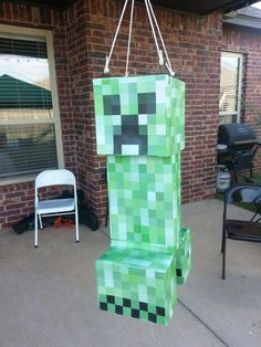 Minecraft birthday party - creeper piñata!