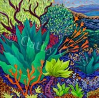 """: Reaching Out - The Garden Spirit, 30"""" x 30"""", Oil by ©Cathy Carey"""