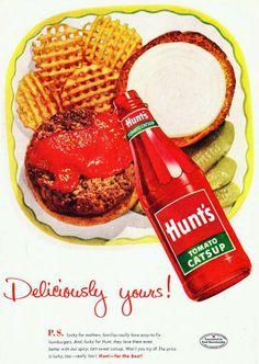 Hunt's Catsup Ad, Hamburger & Waffle Fries with Ketchup Vintage Advertisement Art Print, Diner / Retro Kitchen Wall Decor Retro Advertising, Retro Ads, Vintage Advertisements, Vintage Ads, Vintage Posters, Vintage Food, Vintage Images, 1950s Ads, Retro Food