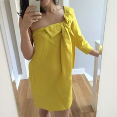 See by Chloe yellow linen dress Adorable linen one shoulder dress from See by Chloe. No signs of wear and dry cleaned since the last time I wore it. Love the pockets! Chloe Dresses