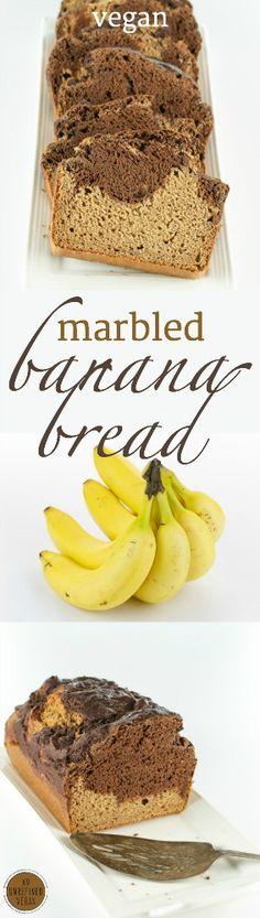Vegan, sugar-free, oil-free Marbled Banana Bread by An Unrefined Vegan.