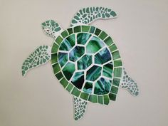 Sea Turtle Mosaic, Stained Glass and Crash Glass Turtle Art, Green Sea Turtle, Coastal Beach House Art