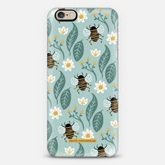 Honey Bee Wildflower Pattern Botanical Floral Flowers Green Nature Rachillustrates Rachel Corcoran   - New Standard Case