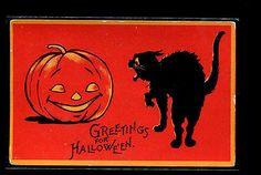 VINTAGE-HALLOWEEN-POSTCARD-GIBSON-BLACK-CAT-JOL-BRIGHT-RED-BACK-20-B1-P15F
