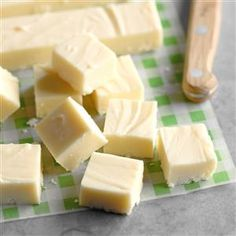 When December arrives, friends and family eagerly await my creamy white fudge. It's a little something different from the traditional chocolate. - Taste of Home Get your Christmas gift-giving all wrapped up with this White Chocolate Fudge. White Chocolate Fudge, Chocolate Marshmallows, Homemade Chocolate, Chocolate Gifts, Homemade Marshmallows, Chocolate Desserts, Vanilla Fudge Recipes, Christmas Fudge, Christmas Candy