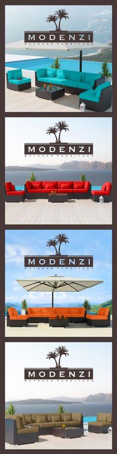 MODENZI DELUXE 7G ALL Weather Modern Outdoor PE Wicker Sofa Patio Furniture Set 9 Colors, Beautiful Design, Modular Sectional